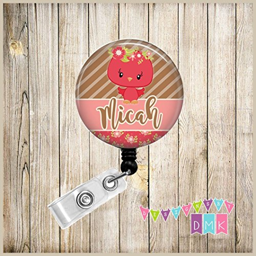 - Cute Woodland Princess - Red Owl - Personalized - Button Badge Reel Retractable ID Holder Alligator or Slide Clip Name Tag Holder Gift - Floral Crown