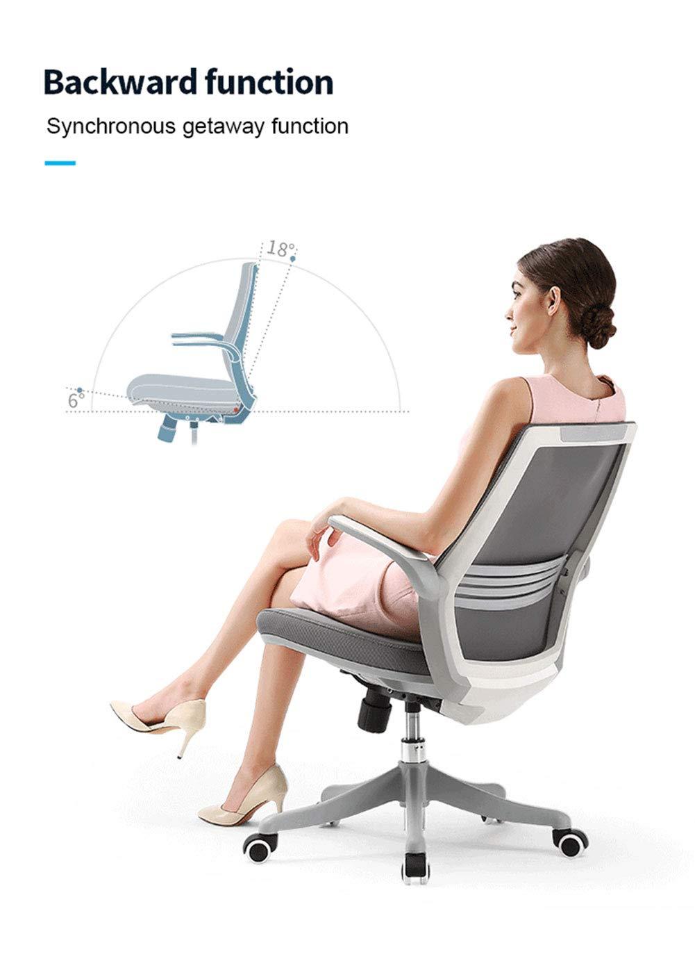 YZT QUEEN Ergonomisk kontorsstol, ergonomisk konferensstol kompakt 120 ° låst 360° vridbart säte modern minimalistisk hemmakontor stol med vändbart armstöd Rosa BLÅ