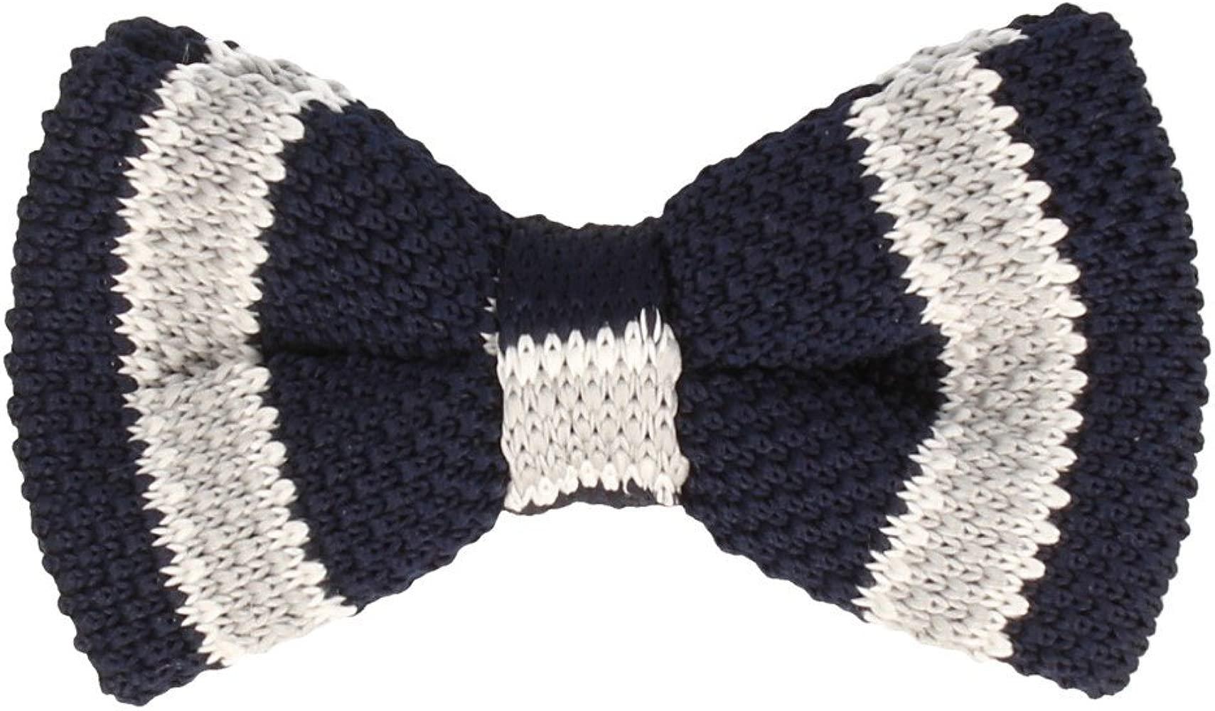 Marcell Sanders corbata de moño Límite de punto de algodón azul ...