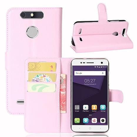 Guran® Funda de Cuero PU Para ZTE Blade V8 Lite Smartphone Función de Soporte con Ranura para Tarjetas Flip Case Cover Caso-rosa