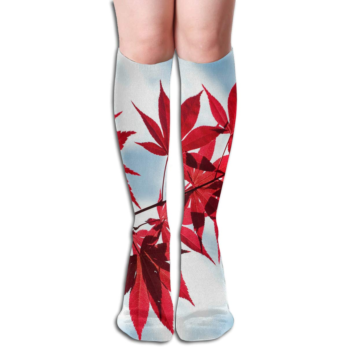 Girls Socks Mid-Calf Red Leaves Blue Sky Winter Vintage For Party