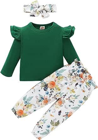 ZOEREA Conjunto de Ropa de Bebé Niña Encantador Manga Larga Tops con Volantes + Pantalones Floral + Venda Recién Nacido Niñas Otoño Primavera Trajes 3 Piezas