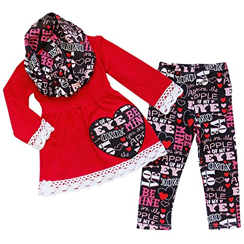 So Sydney Toddler Girls 3 Pc Valentine's Day Heart Print Holiday Outfit & Scarf (L (5), Red & Black)