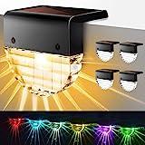 Lámparas Solares para terrazas, Purplecrystal 2 Modos de Luces LED Solares para Exteriores para Escaleras, Cercas, Patios, Se