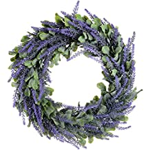 "Artiflr Artificial Wreath, Door Wreath 17"" Lavender Spring Wreath Nearly Natural Round Wreath for the Front Door, Home Décor"