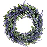 Artiflr Artificial Wreath, Door Wreath 17'' Lavender Spring Wreath Round Wreath for The Front Door, Home Décor