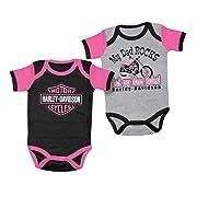 Harley-Davidson Baby Girls' Mom Rules 2 Creeper Set Gray/Black 3000555 (18M)