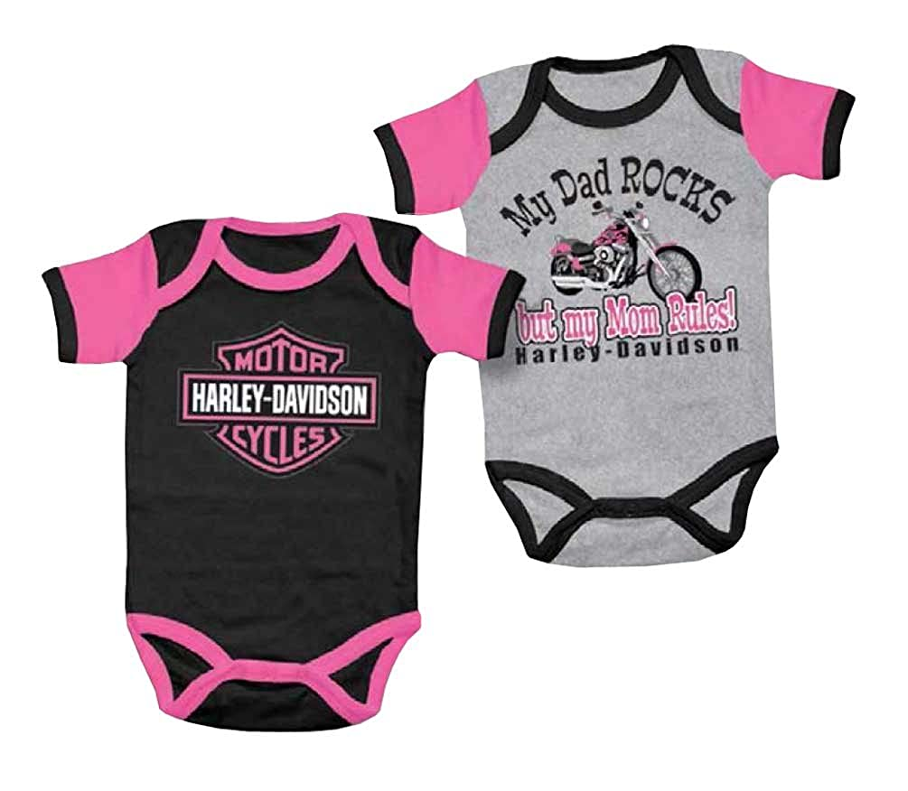 Harley-Davidson Baby Girls' Mom Rules Creeper Set, 2 Pack Gray/Black 3000555 SGI