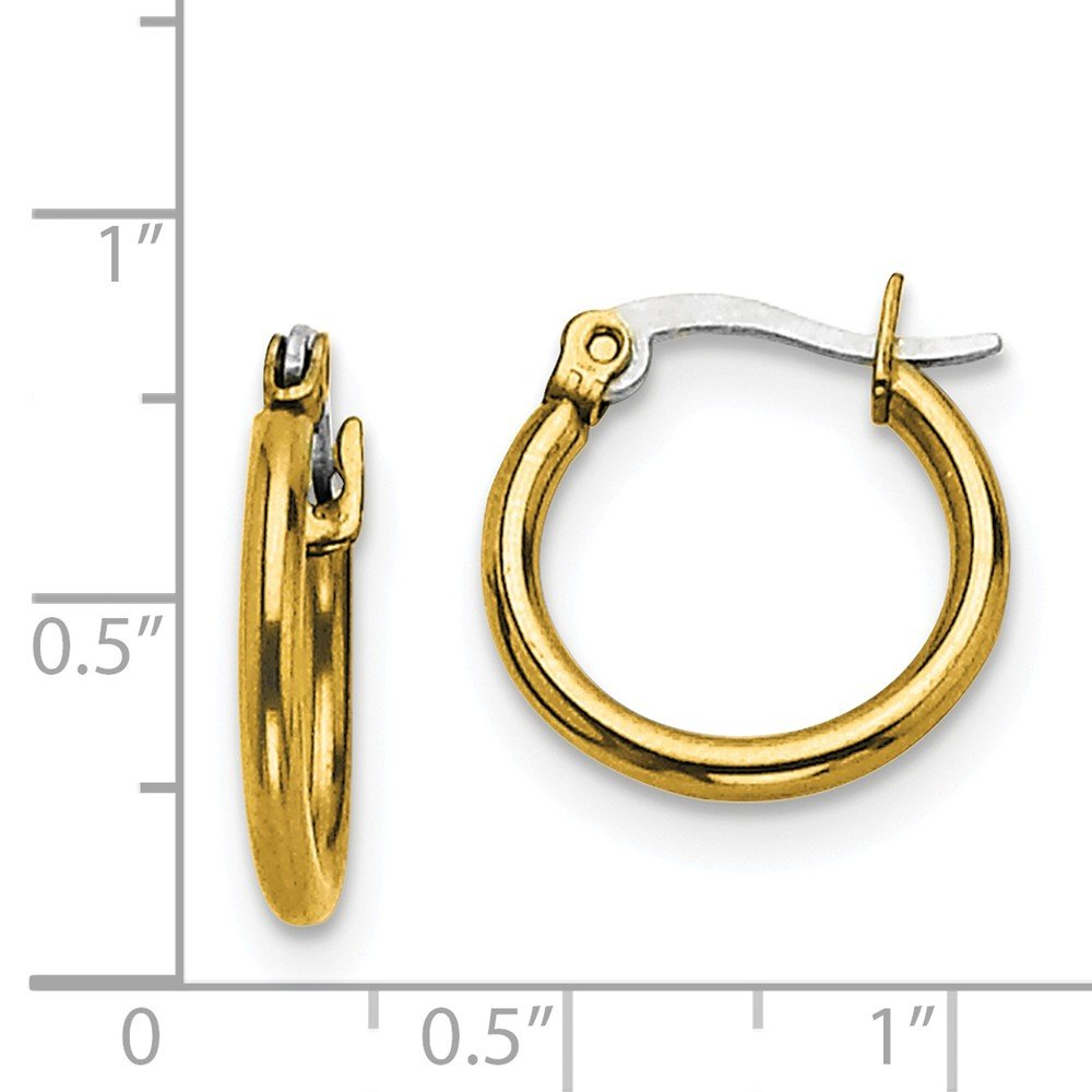 Stainless Steel Gold IP plated 15.5mm Hoop Earrings