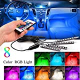 neon lights inside cars - Car Inside Lights, Karono 4pc. 8 Color Music Car Interior Light LED Strip Under Dash Lighting Decoration Accessories kit - Sound Active Function - Wireless Remote Control