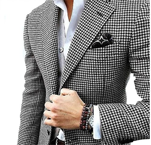(Mens Checkered Suit Houndstooth Custom Made Men Dress Suits,Tailored Casual Men Wedding Tuxedos Duotone Weave Hounds Tooth Check(S))