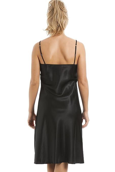 Camille - Conjunto satinado de camisón y bata - Negro 38/40: Amazon.es: Ropa y accesorios