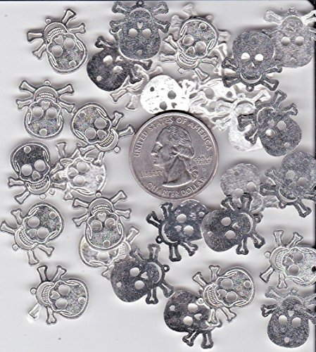 LOT of 30 Spooky Halloween Metal Skull and Cross Bone Charms DR-31]()