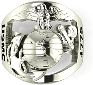product image for Continuum Sterling Silver USMC Men's Ring with Open Back Eagle Globe and Anchor with Years of Service MR40