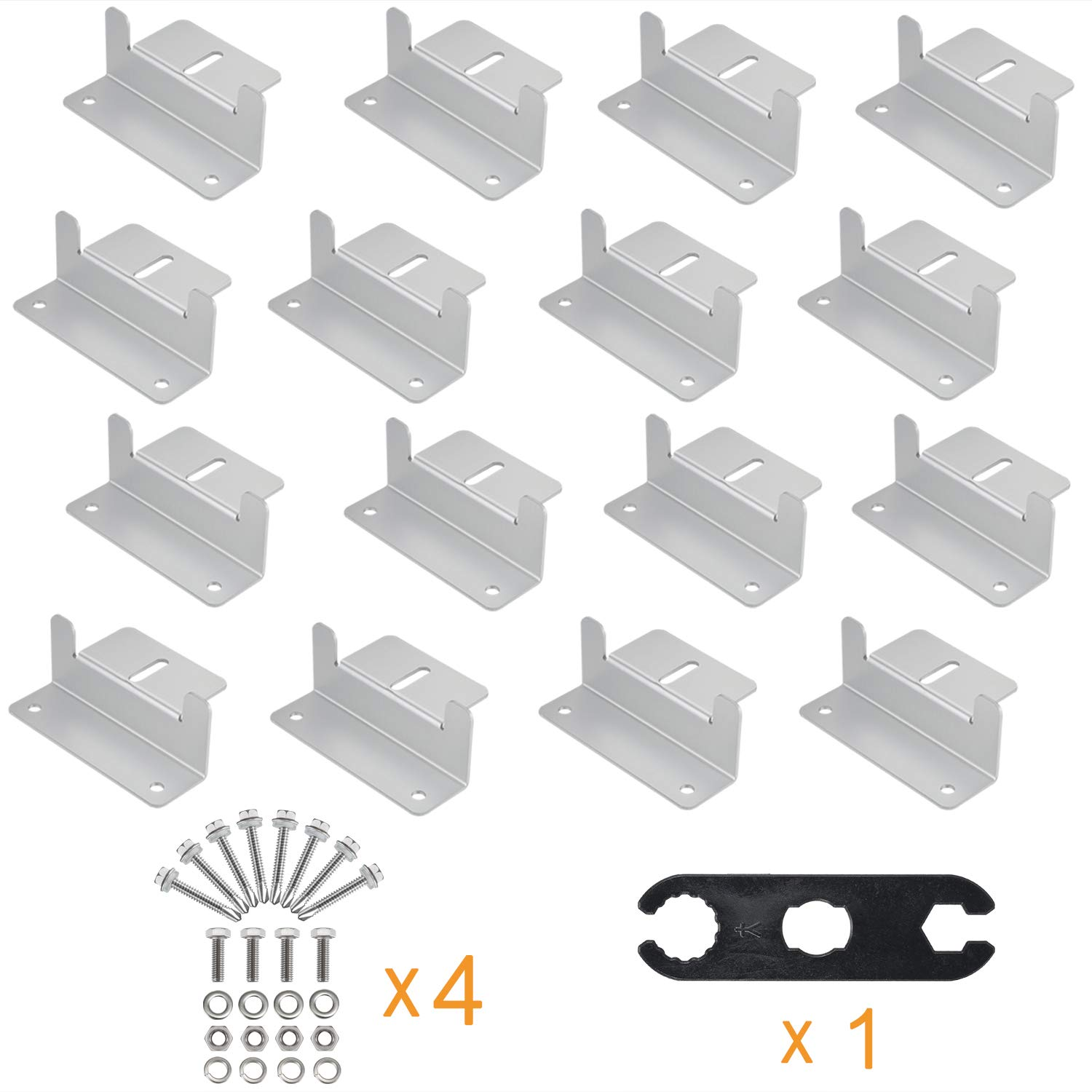 AOOHOOA Solar Panel Mounting Z Brackets Kit with Nuts and Bolts for RV Camper,Boat,Wall and Other Off Gird Roof Installation,A Set of 4 Units (4 Set)