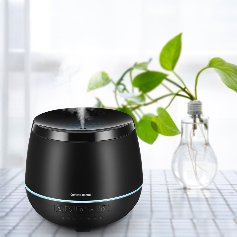 Aroma Essential Oil Diffuser, Ultrasonic Cool Mist Humidifier Home Fragrance Electirc Diffuser Ultra Quiet 200ml BPA Free for Office/Bedroom/Study/Yoga/Spa - Black