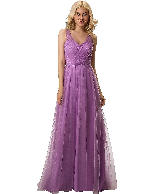 Lavender YIRENWANSHA 2019 V Neck Bridesmaid Dresses A Line Long Straps Empire Waist Party Robe SH057