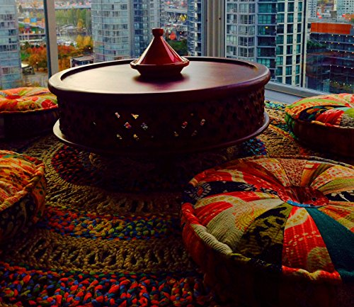 RANGILA Stuffed Indian Vintage Kantha Assorted Patch Floor Cushion; Pouf Ottoman; Round Pouf by MARUDHARA (Image #4)
