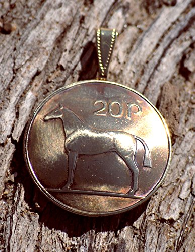 Celtic Womens Charm - Irish Coin Pendant Celtic Horse 20 Pingin Vintage Necklace Jewelry Unique Charm Finding Bead Foreign World Made In Ireland Travel