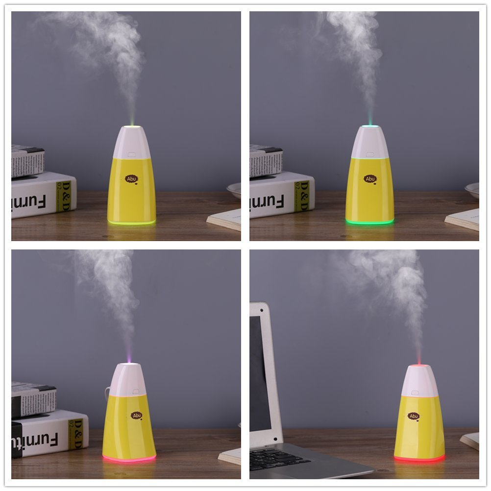 Mini Usb Desktop Humidifier Cool Mist Air Vaporizer Portable Ultrasonic Quiet Humidifiers 250Ml For Car Home Office Bedroom Travel with 7 Color Changing Led Night Lights by Beikaisi (Image #7)