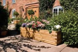 Rowlinson A059 Patio Planter, Natural Timber Finish, 15'' Height x 15'' Width x 5' 10'' Length