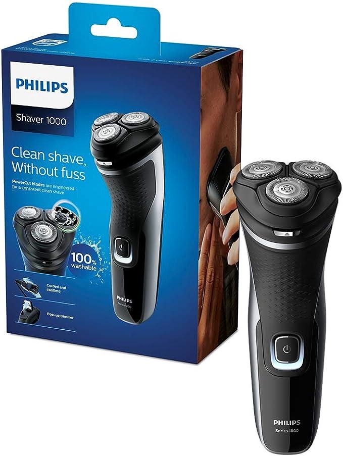 Philips Series 1000 afeitadora eléctrica en seco con cuchillas Powercut y recortadora Pop-Up, brillante/negro, 289 g: Amazon.es: Salud y cuidado personal