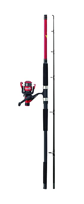 shakespeare firebird spin combo rod and reel 2 piece black red