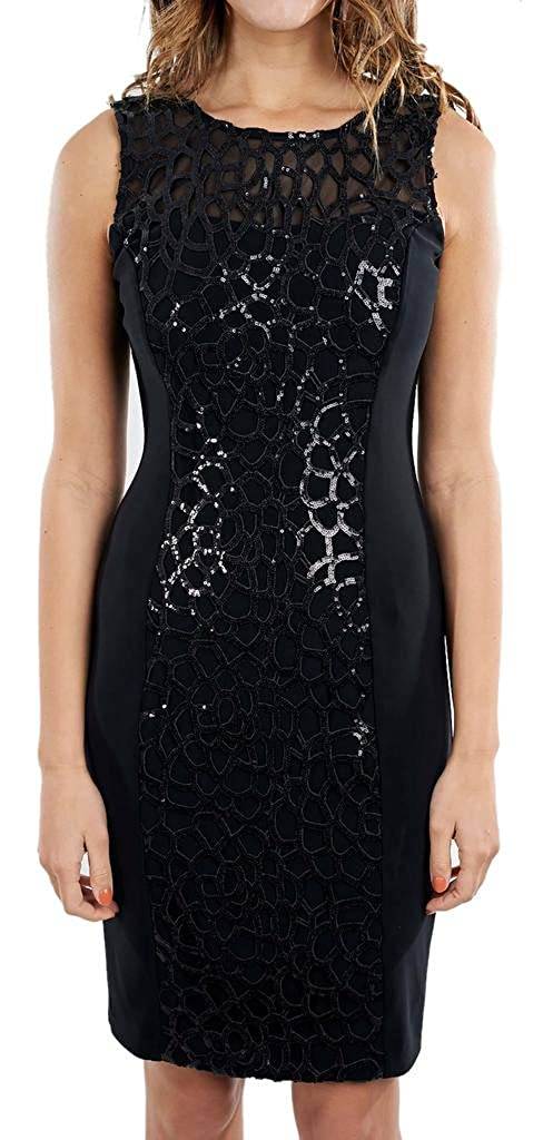 Joseph Ribkoff Black Semi-Sheer Sequin Pattern Sleeveless Dress Style 171472 - Size 10 at Amazon Womens Clothing store:
