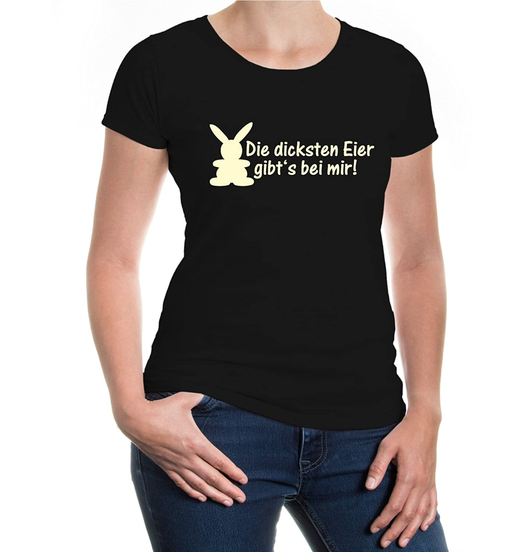 buXsbaum® Girlie T-Shirt Die dicksten Eier gibts bei mir: Amazon.de:  Bekleidung
