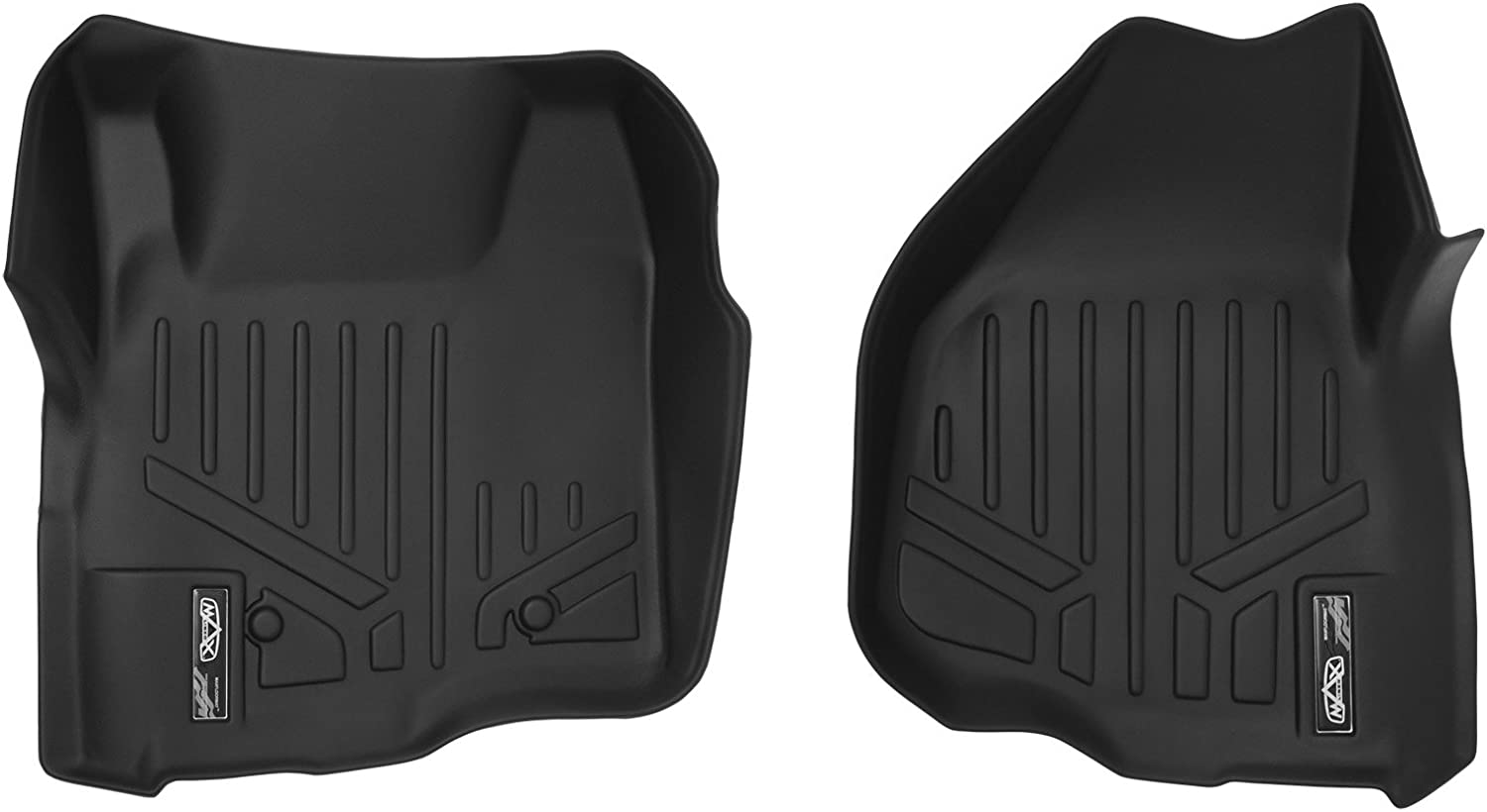 SMARTLINER Floor Mats 1st Row Liner Set Black for 2011-2012 F-250//F-350//F-450 Super Duty with Depressed Drivers Side Pedal