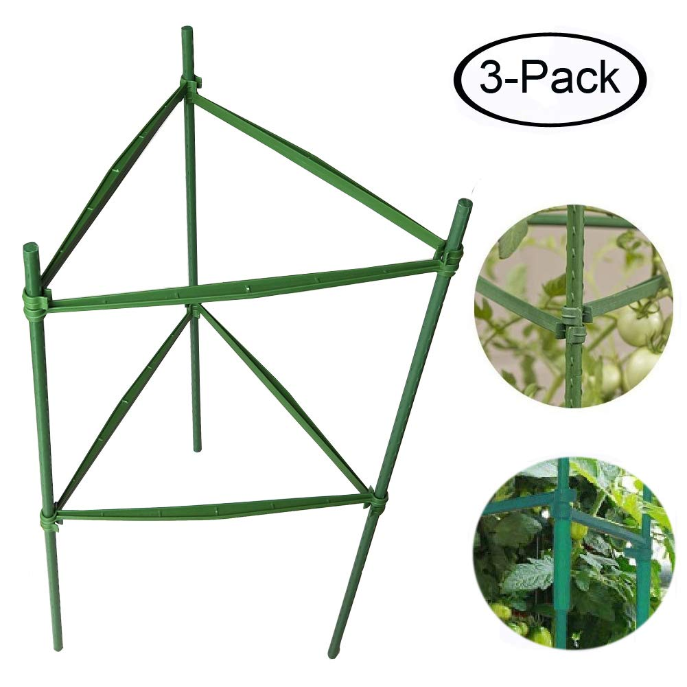 F.O.T 3-Sets Tomato Cage Plant Support Garden Stakes 2ft Long Steel with Plastic Coated Plant Sticks, Sturdy Garden Plant Support Stakes with Connecting Rod (3)
