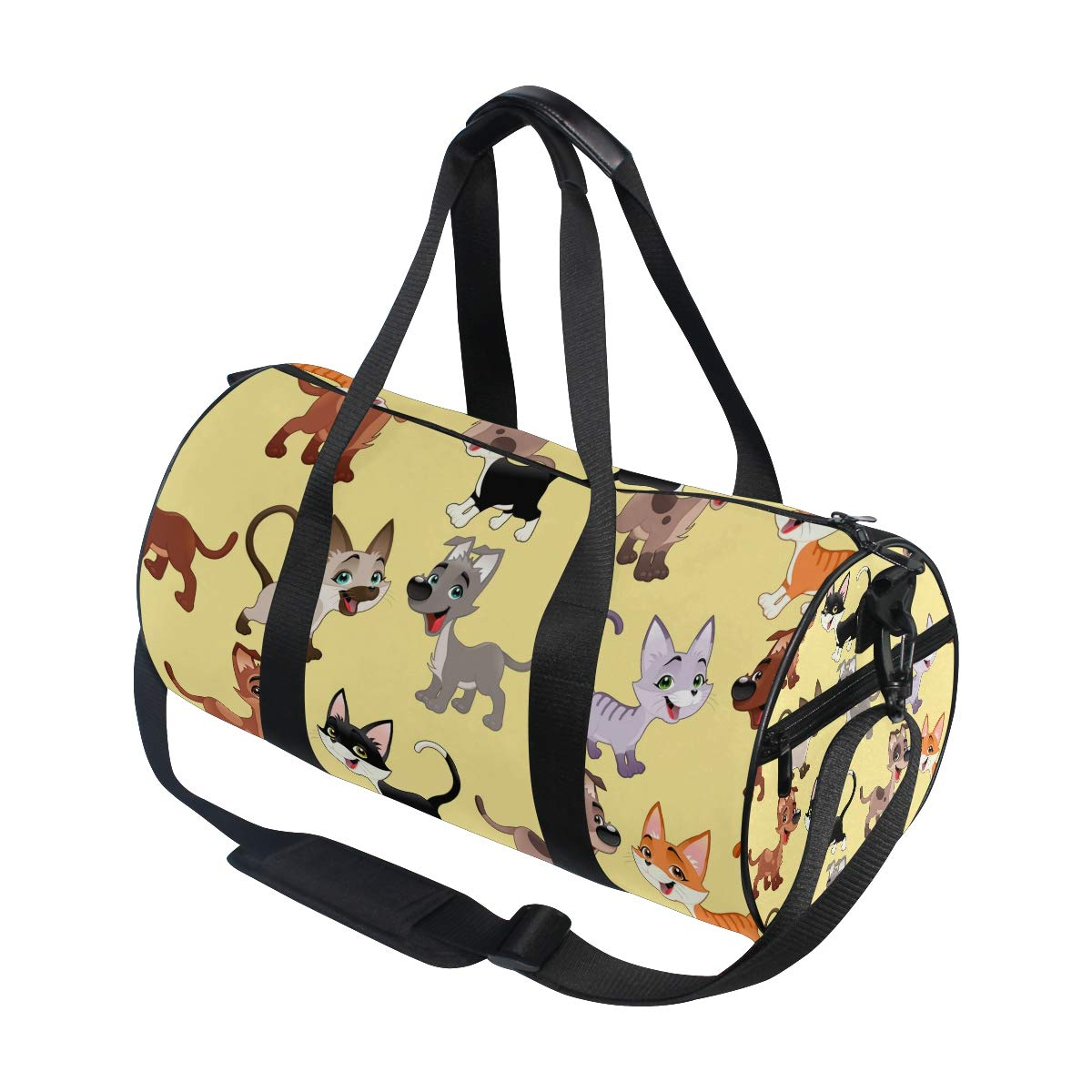 WIHVE Gym Duffel Bag Funny Cats And Dogs Sports Lightweight Canvas Travel Luggage Bag