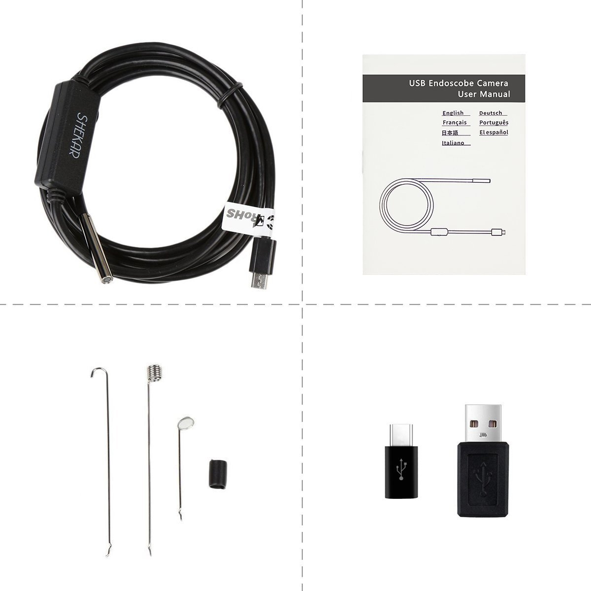 0.21 Inch Slim Camera Head USB Endoscope Borescope with Semi Rigid Cable USB Type C Adapter for PC Notebook and Android Device Upgraded 5M//16.4ft Cable