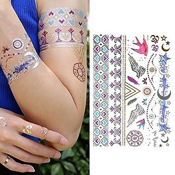Oottati Tatuajes Temporales Dorados Metalicos Purpurina Tragarse ...