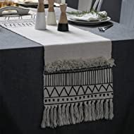 KIMODE Moroccan Fringe Table Runner, Geometric Handmade Woven Tufted Cotton Canvas Fabric Decorative Table Runners Minimalist Home Decor,Black and White,14 in X 72 in