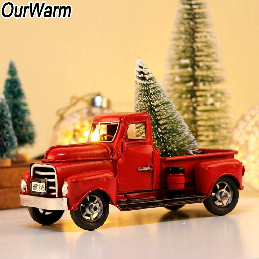 Zamtac Ourwarm Little Red Truck Christmas Decor Handcrafted Home Figurines Miniatures Old Classic Metal Truck 17x7 5x8cm Amazon Ca Home Kitchen