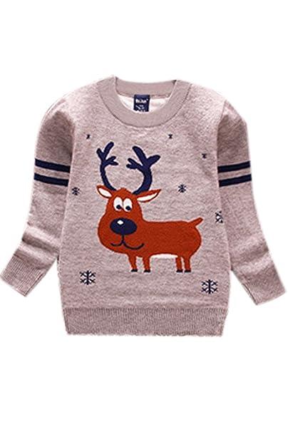 BLAU GRUN Baby Boys Deer Pullover Velvet Toddler Christmas Hoodies  Sweatshirt Gray 14T