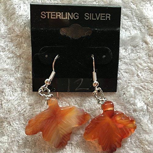 natural carnelian gemstone carved leaf dangle sterling silver earrings
