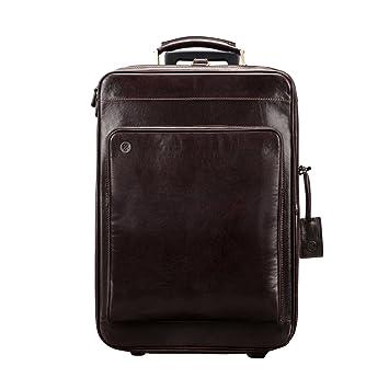 Maxwell Scott - Bagage cabine à roulette cuir italien marron foncé  (Piazzale) a580a230af8