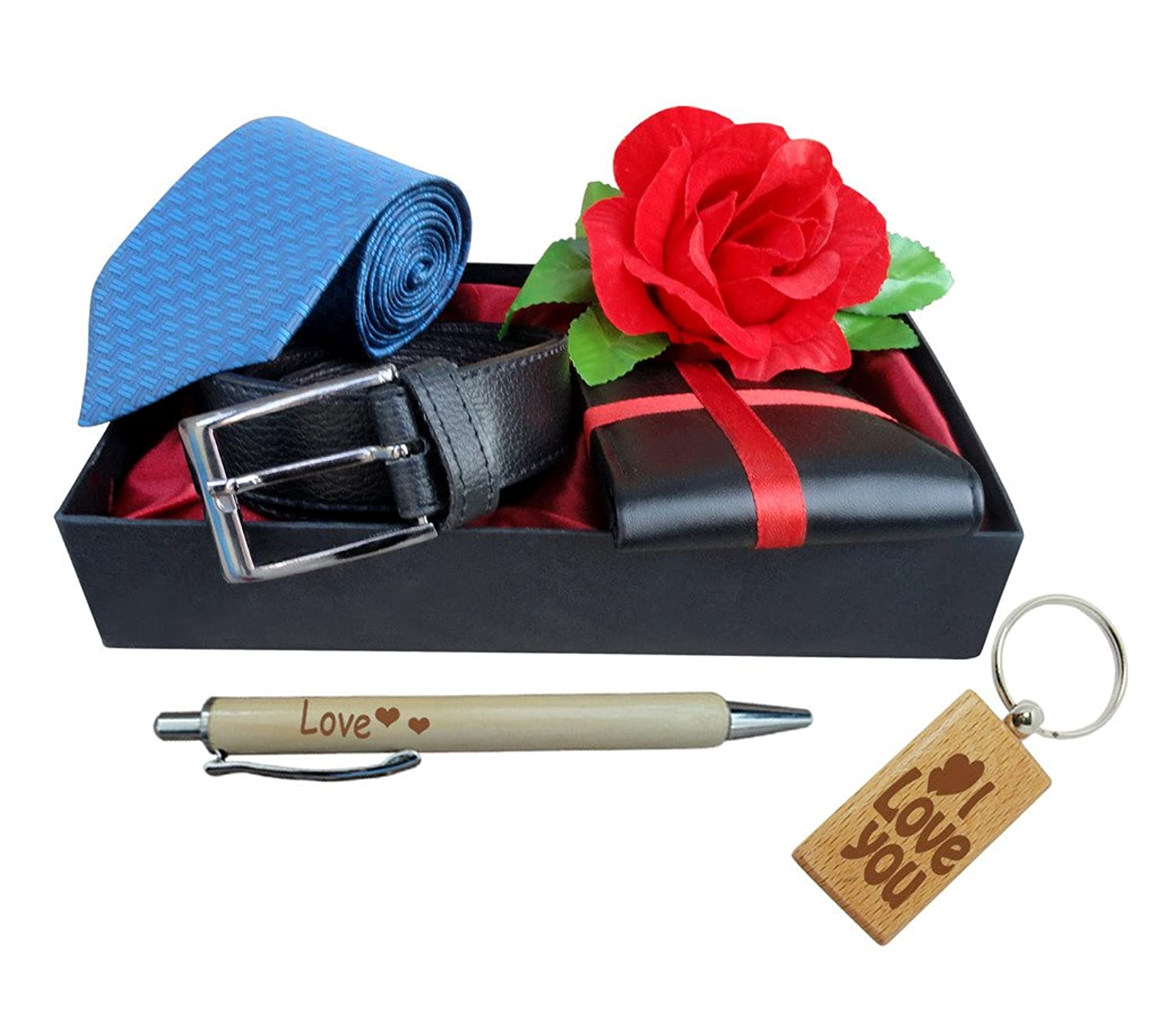TiedRibbons Gifts for Husband Belt Wallet Rose Tie Pen and