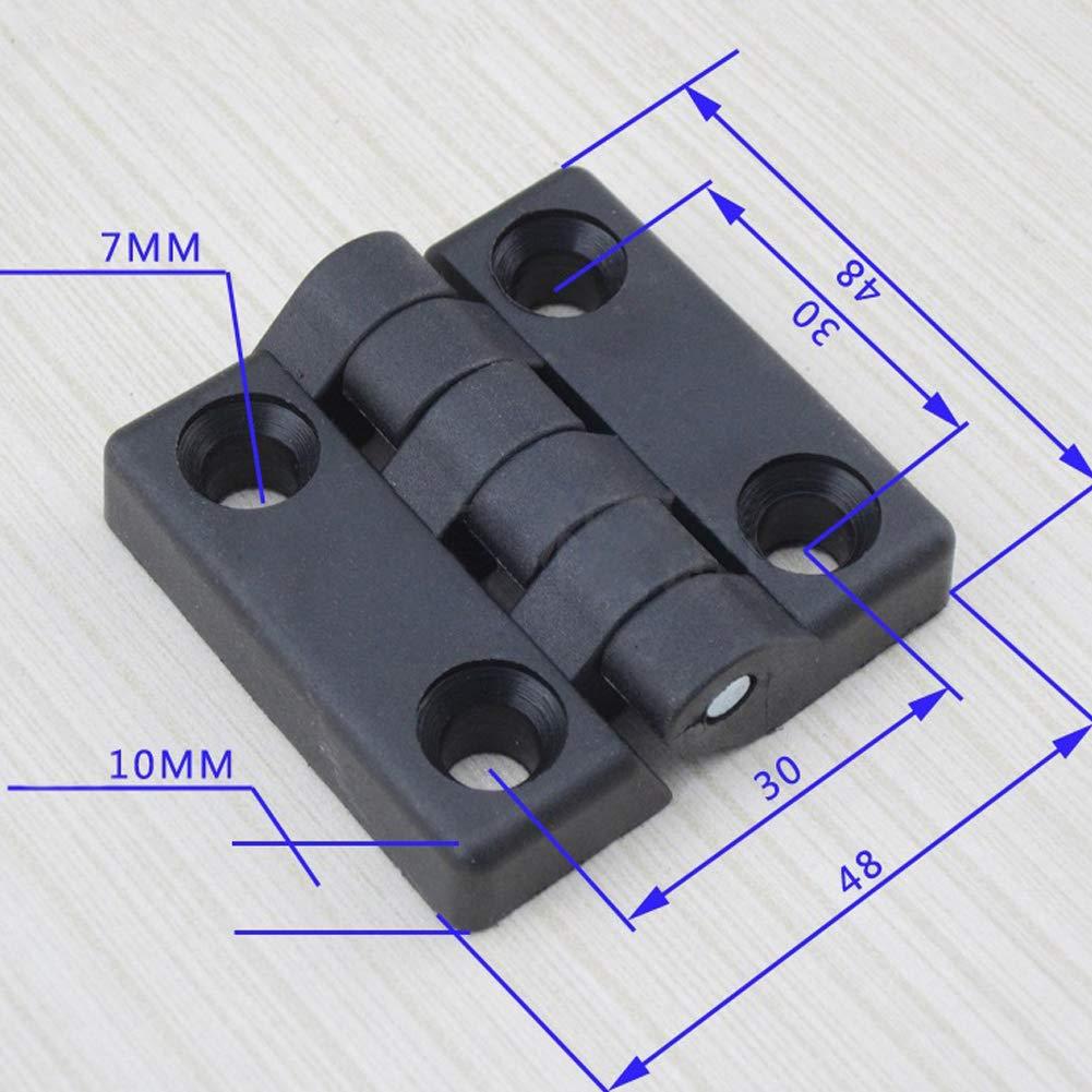 RENNICOCO 48 mm x 48 mm Dos Hojas de pl/ástico de rodamiento Trasero bisagra Negro para la Puerta