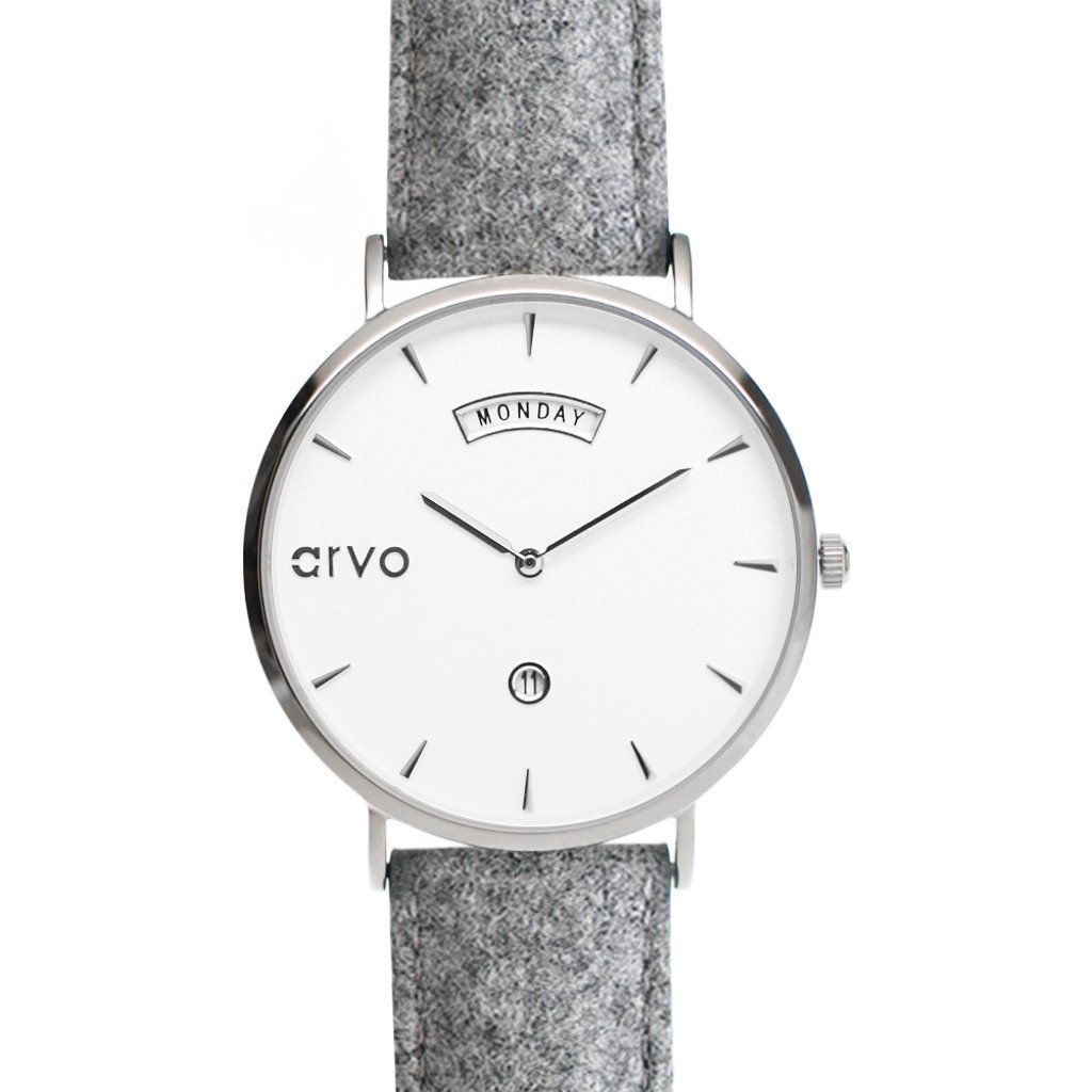 Arvo White Awristacrat Watch   Silver/Gray - Size: 40mm