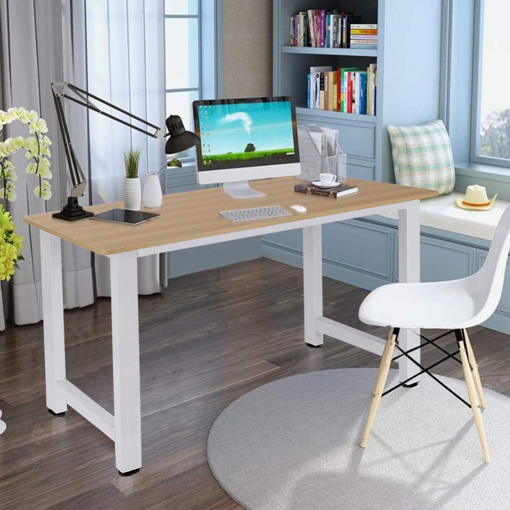 Computer Desk - Modern Simple Style Working Studying Desk for Home Office, Extra Thickened Frame & Adjustable Leg Pads Desktop, PC Laptop Notebook Table (39.4 x 23.6 x 29.1 inches)