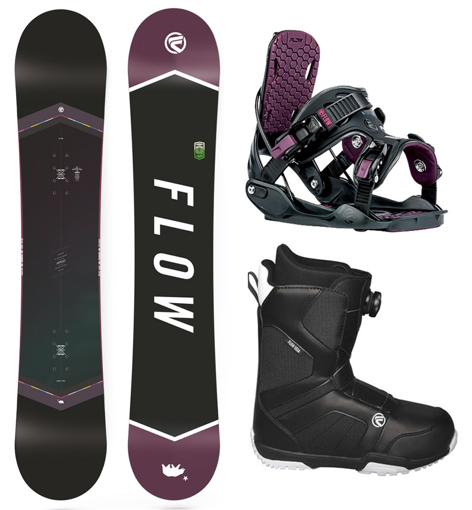 Flow 2018 Venus 143 Women's Snowboard Package Bindings BOA Boots (Boot Size 9)