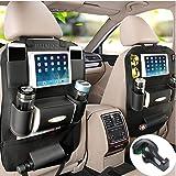 PALMOO シートバックポケット 収納ホルダー レザー製 収納バッグ 取り付け簡単 多機能 大容量 車内整理 iPad mini収納ポケット ブラック