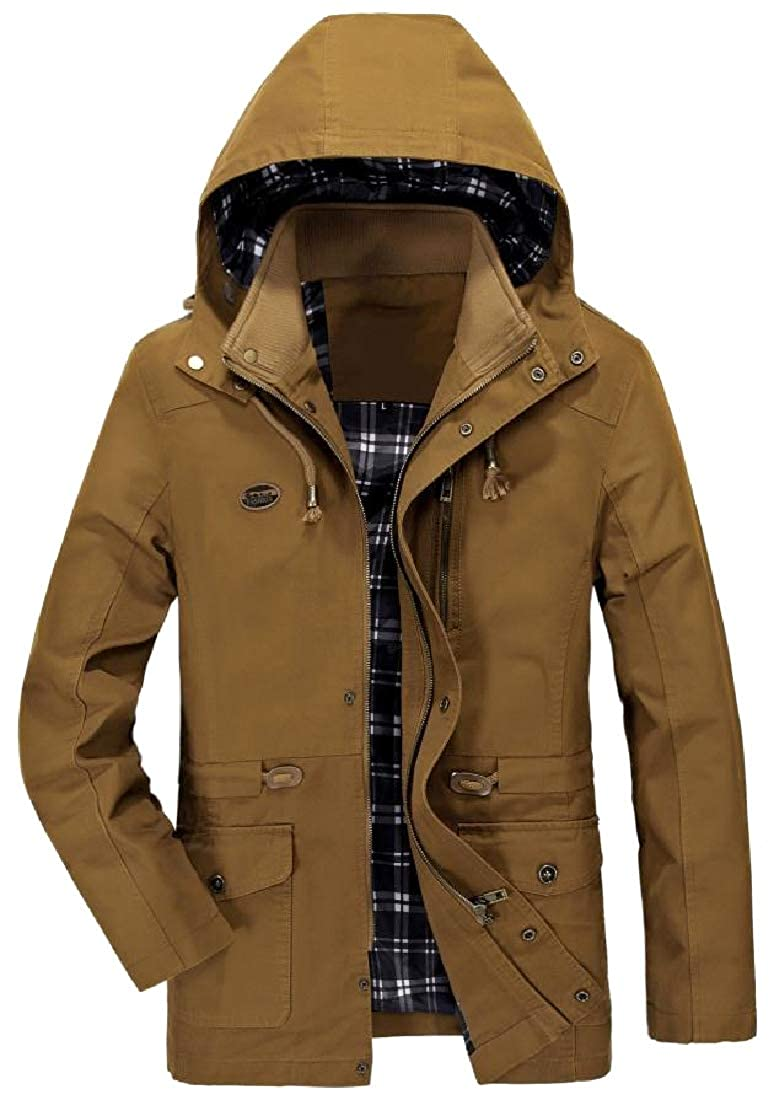 Abetteric Mens Large Size Cargo Work Removable Hood Anorak Jacket