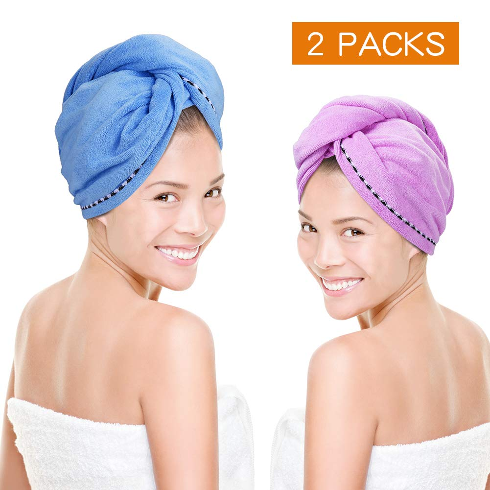 Microfiber Hair Towel Quick Magic Hair Dry Hat, Turban Twist Hair Towel Wrap Head Towel with Button, Quick Dry Super Absorbent for Long & Curly Hair, Anti-Frizz [2 Pack] By Tiitc by tiitc