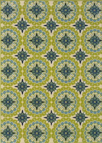 Granville Rugs Coastal Indoor/Outdoor Area Rug, Ivory/Blue/Green, 5' 3 x 7 '6