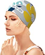 BALNEAIRE Silicone Long Hair Swim Cap for Women,Waterproof Lotus Pattern Swimming
