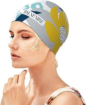 BALNEAIRE Silicone Long Hair Swim Cap for Women,Waterproof Lotus Pattern Swimming Cap